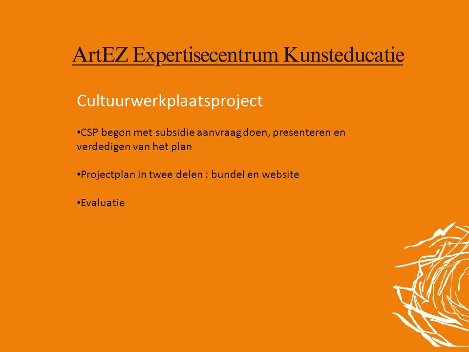 Cultuurwerkplaatsproject • CSP begon met subsidie aanvraag doen, presenteren en verdedigen van het plan • Projectplan in twee delen : bundel en websit