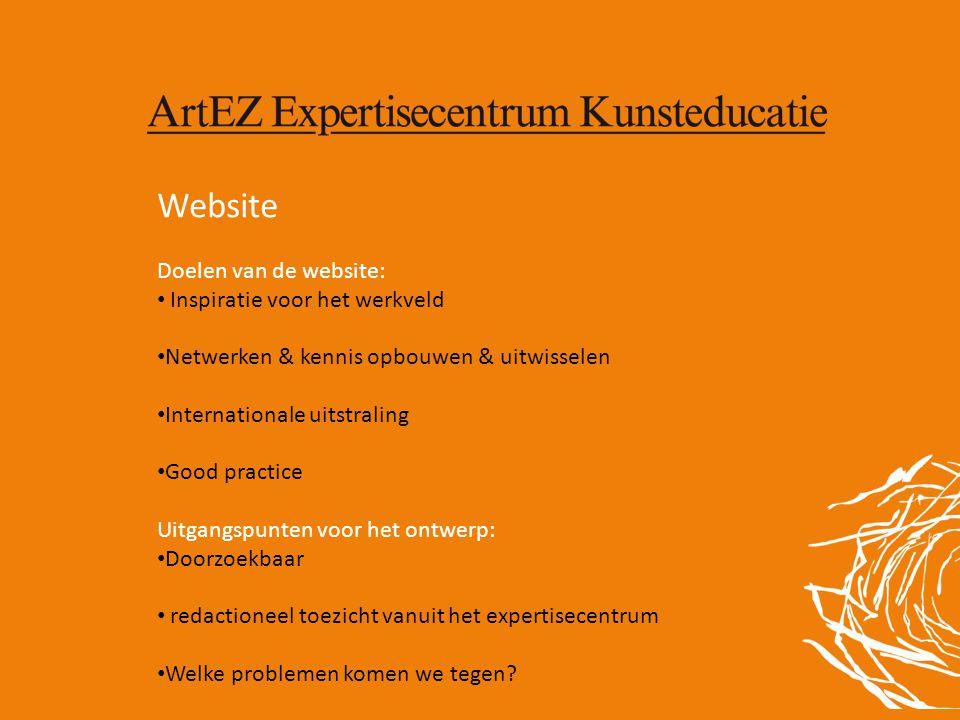 Website Doelen van de website: • Inspiratie voor het werkveld • Netwerken & kennis opbouwen & uitwisselen • Internationale uitstraling • Good practice