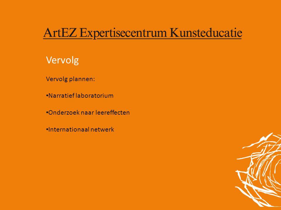 Vervolg Vervolg plannen: • Narratief laboratorium • Onderzoek naar leereffecten • Internationaal netwerk