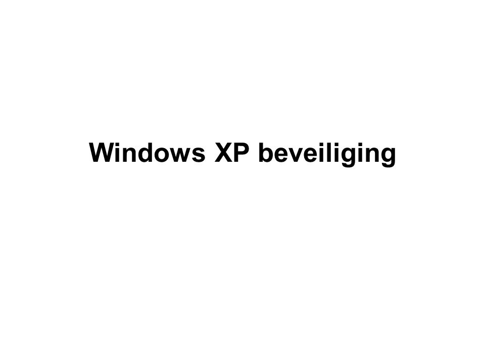 Windows XP beveiliging