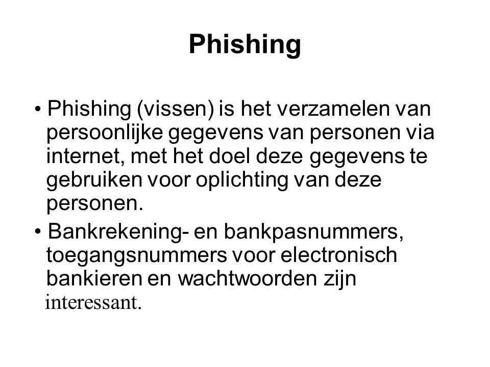 Phishing • Phishing (vissen) is het verzamelen van persoonlijke gegevens van personen via internet, met het doel deze gegevens te gebruiken voor oplichting van deze personen.