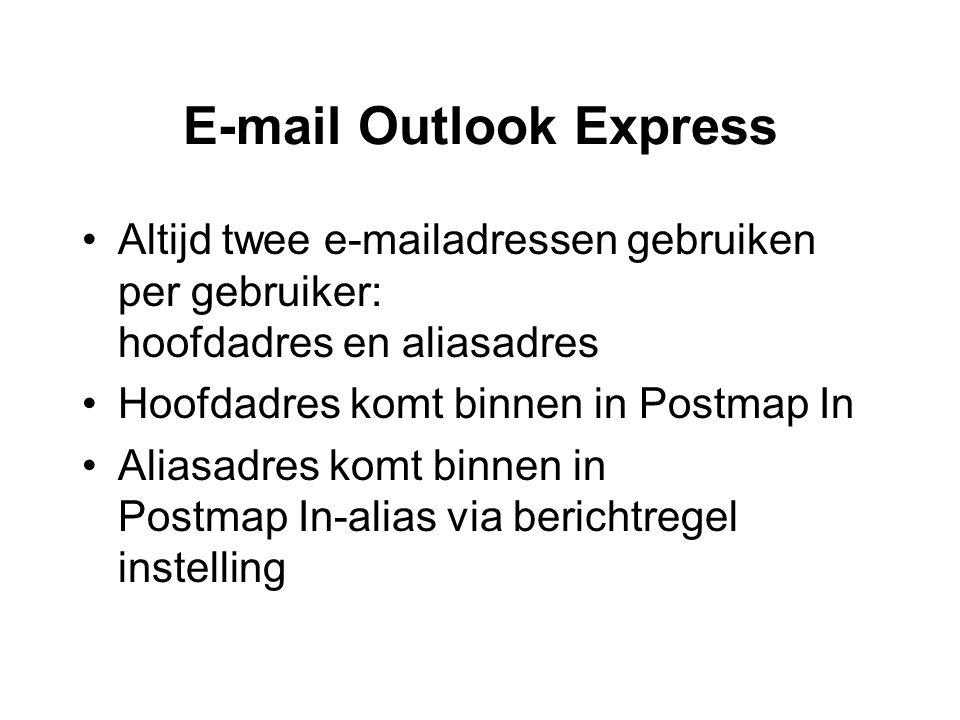 E-mail Outlook Express •Altijd twee e-mailadressen gebruiken per gebruiker: hoofdadres en aliasadres •Hoofdadres komt binnen in Postmap In •Aliasadres komt binnen in Postmap In-alias via berichtregel instelling