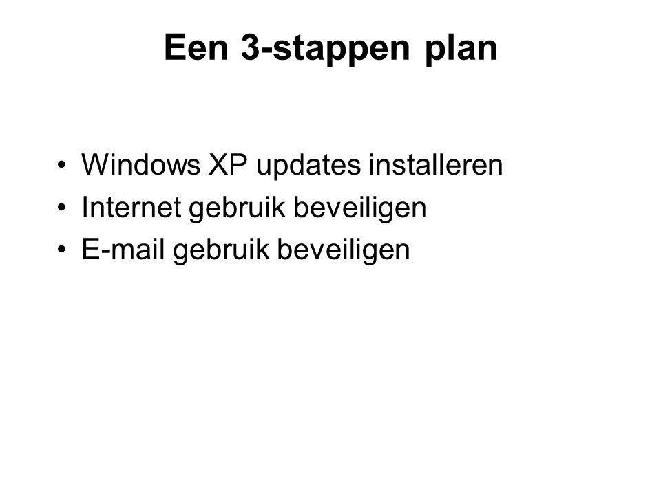 Een 3-stappen plan •Windows XP updates installeren •Internet gebruik beveiligen •E-mail gebruik beveiligen
