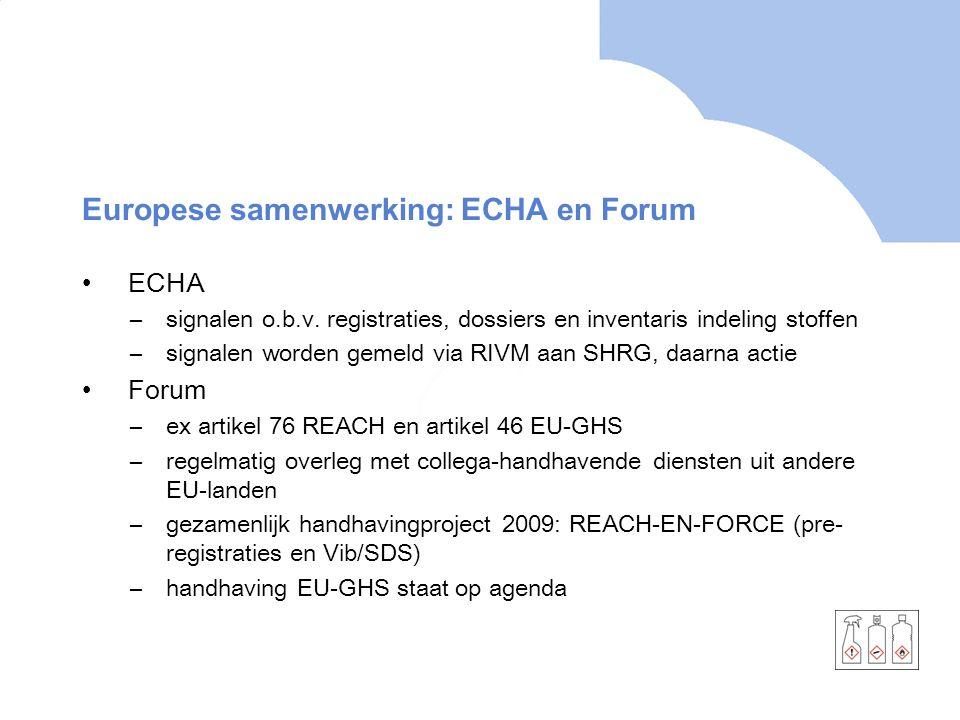 Europese samenwerking: ECHA en Forum •ECHA –signalen o.b.v.