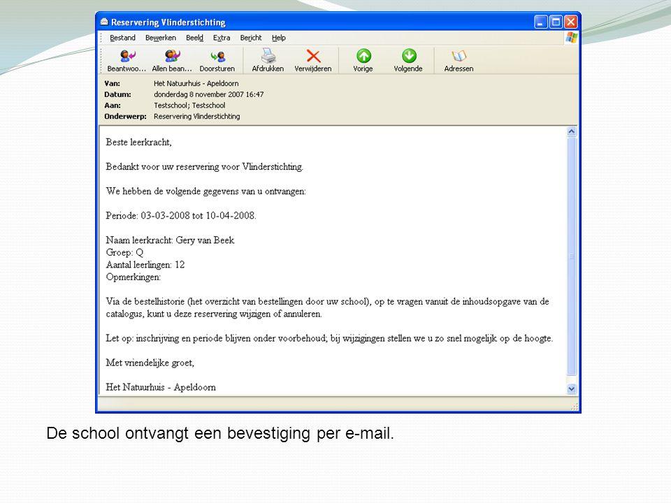 De school ontvangt een bevestiging per e-mail.