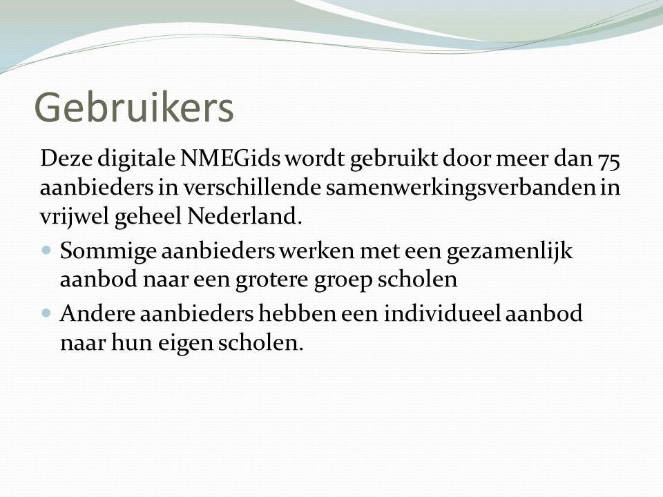Gebruikers Deze digitale NMEGids wordt gebruikt door meer dan 75 aanbieders in verschillende samenwerkingsverbanden in vrijwel geheel Nederland.  Som