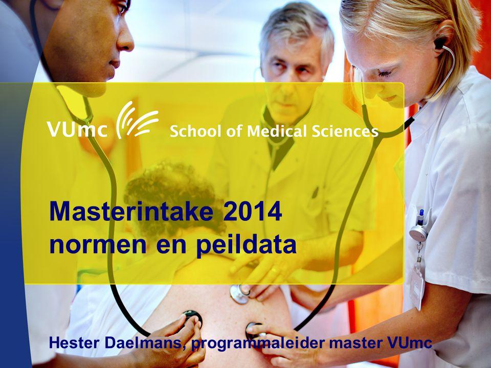 Masterintake 2014 normen en peildata Hester Daelmans, programmaleider master VUmc