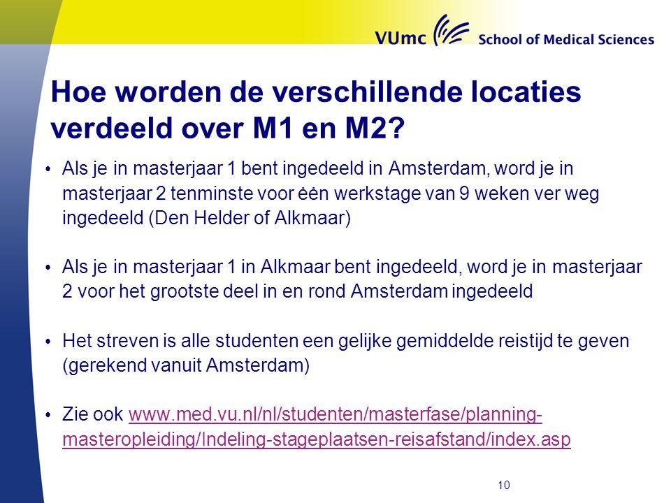 Hoe worden de verschillende locaties verdeeld over M1 en M2? • Als je in masterjaar 1 bent ingedeeld in Amsterdam, word je in masterjaar 2 tenminste v