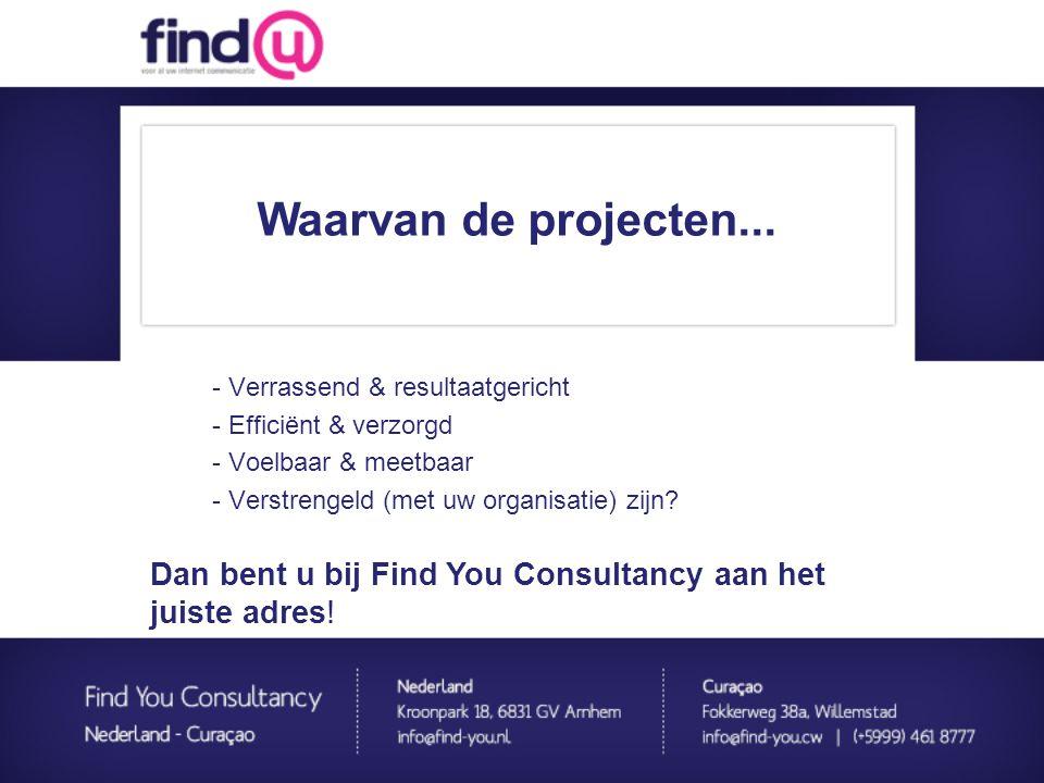 - Verrassend & resultaatgericht - Efficiënt & verzorgd - Voelbaar & meetbaar - Verstrengeld (met uw organisatie) zijn? Waarvan de projecten... Dan ben