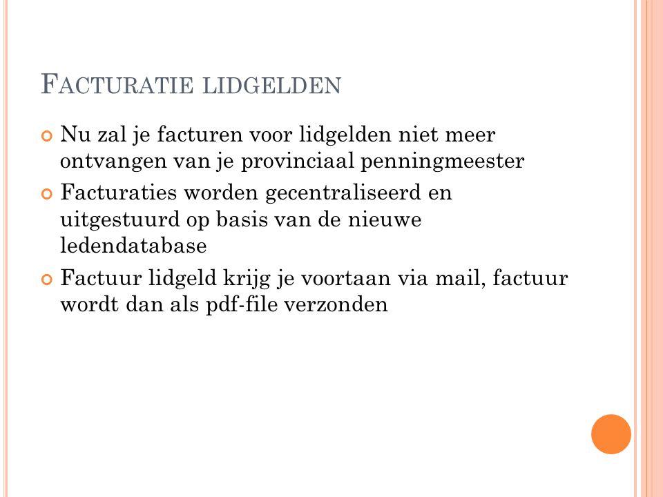 F ACTURATIES Factuur bestaat uit federaal lidgeld: 85 euro provinciaal lidgeld is variabel: West-Vlaanderen: 25 euro Oost-Vlaanderen: 15 euro Antwerpen: 15 euro Limburg: 25 euro Vlaams-Brabant: 30 euro Premie polis waarvan 3 opties: 137 euro 164 euro 219 euro