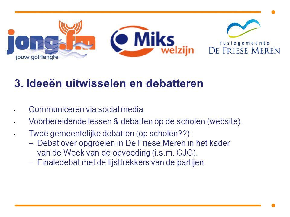 3. Ideeën uitwisselen en debatteren • Communiceren via social media.