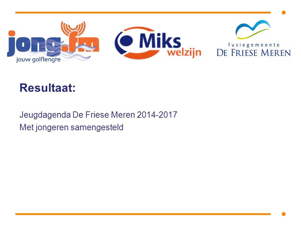 Resultaat: Jeugdagenda De Friese Meren 2014-2017 Met jongeren samengesteld