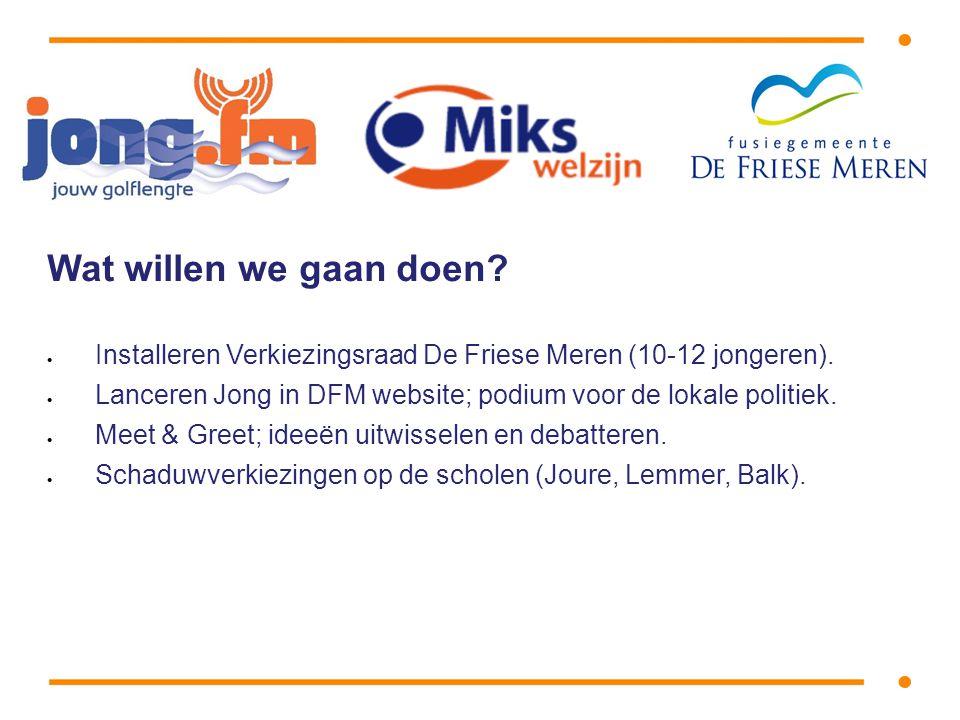 Wat willen we gaan doen.  Installeren Verkiezingsraad De Friese Meren (10-12 jongeren).