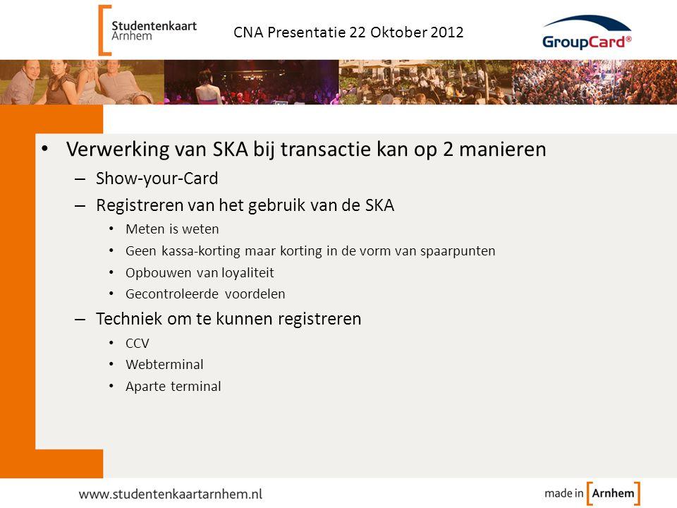 • Verwerking van SKA bij transactie kan op 2 manieren – Show-your-Card – Registreren van het gebruik van de SKA • Meten is weten • Geen kassa-korting