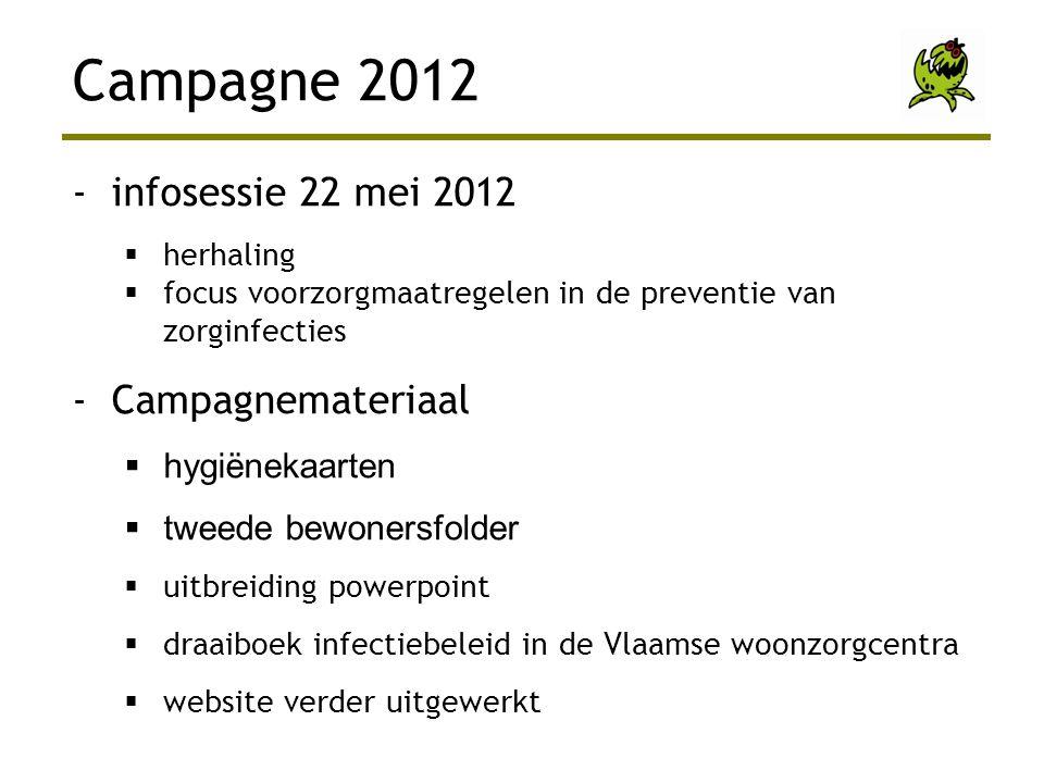-infosessie 22 mei 2012  herhaling  focus voorzorgmaatregelen in de preventie van zorginfecties -Campagnemateriaal  hygiënekaarten  tweede bewoner