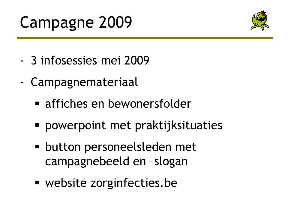 -3 infosessies mei 2009 -Campagnemateriaal  affiches en bewonersfolder  powerpoint met praktijksituaties  button personeelsleden met campagnebeeld en –slogan  website zorginfecties.be Campagne 2009