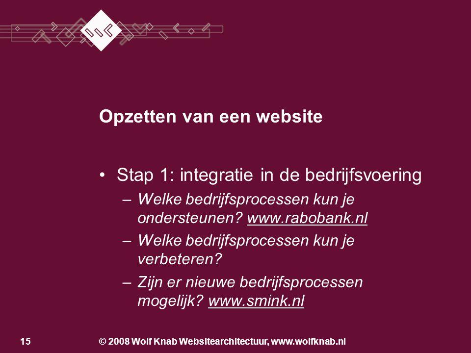 © 2008 Wolf Knab Websitearchitectuur, www.wolfknab.nl15 Opzetten van een website •Stap 1: integratie in de bedrijfsvoering –Welke bedrijfsprocessen kun je ondersteunen.