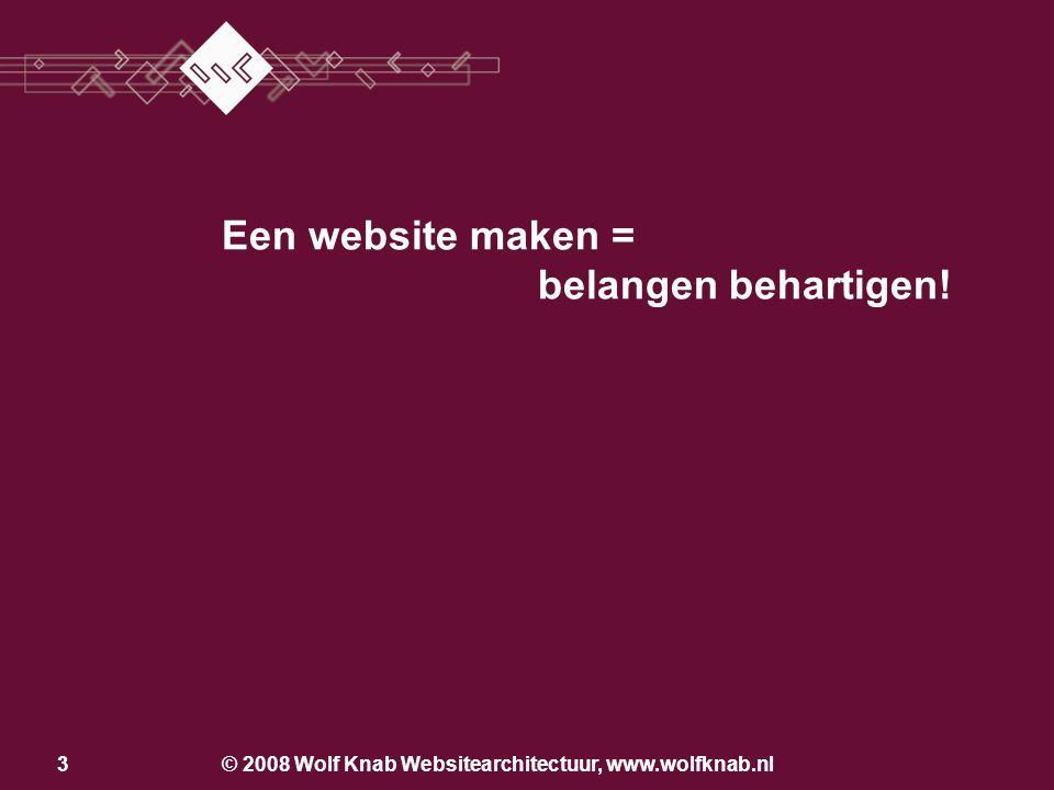 © 2008 Wolf Knab Websitearchitectuur, www.wolfknab.nl14 Opzetten van een website •Start: een folder op het web –Vormgeving: look & feel, huisstijl –Structuur: indeling beeld en tekst –Taalgebruik –Producten, diensten en markten