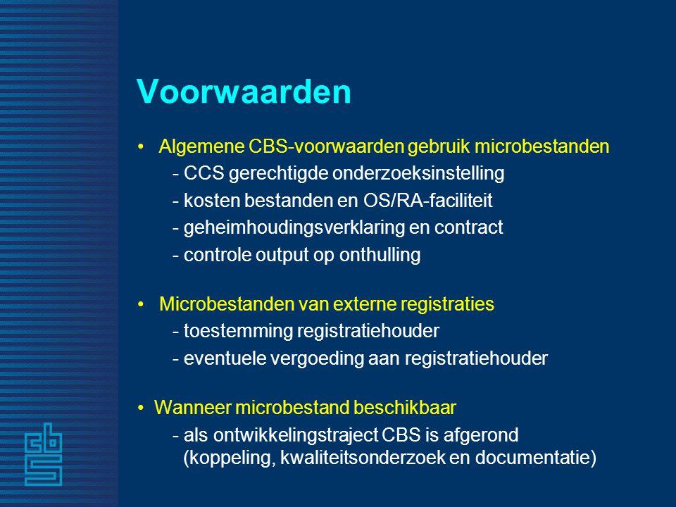 Voorwaarden • Algemene CBS-voorwaarden gebruik microbestanden - CCS gerechtigde onderzoeksinstelling - kosten bestanden en OS/RA-faciliteit - geheimho