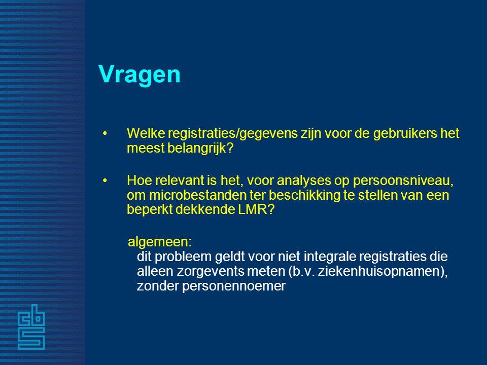 Vragen •Welke registraties/gegevens zijn voor de gebruikers het meest belangrijk? •Hoe relevant is het, voor analyses op persoonsniveau, om microbesta