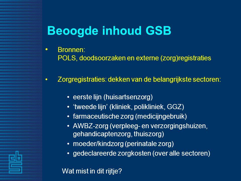 Beoogde inhoud GSB • Bronnen: POLS, doodsoorzaken en externe (zorg)registraties • Zorgregistraties: dekken van de belangrijkste sectoren: •eerste lijn