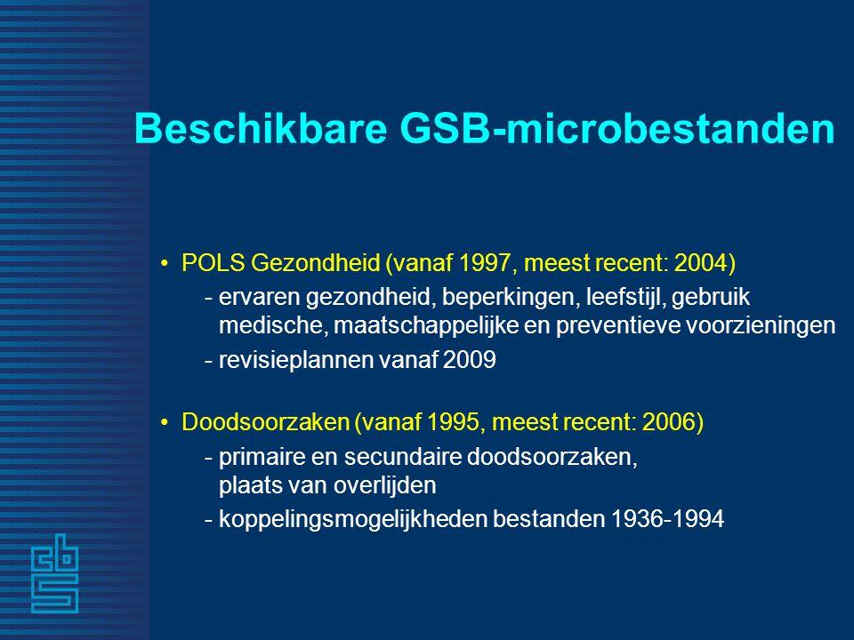 Beschikbare GSB-microbestanden • POLS Gezondheid (vanaf 1997, meest recent: 2004) - ervaren gezondheid, beperkingen, leefstijl, gebruik medische, maat