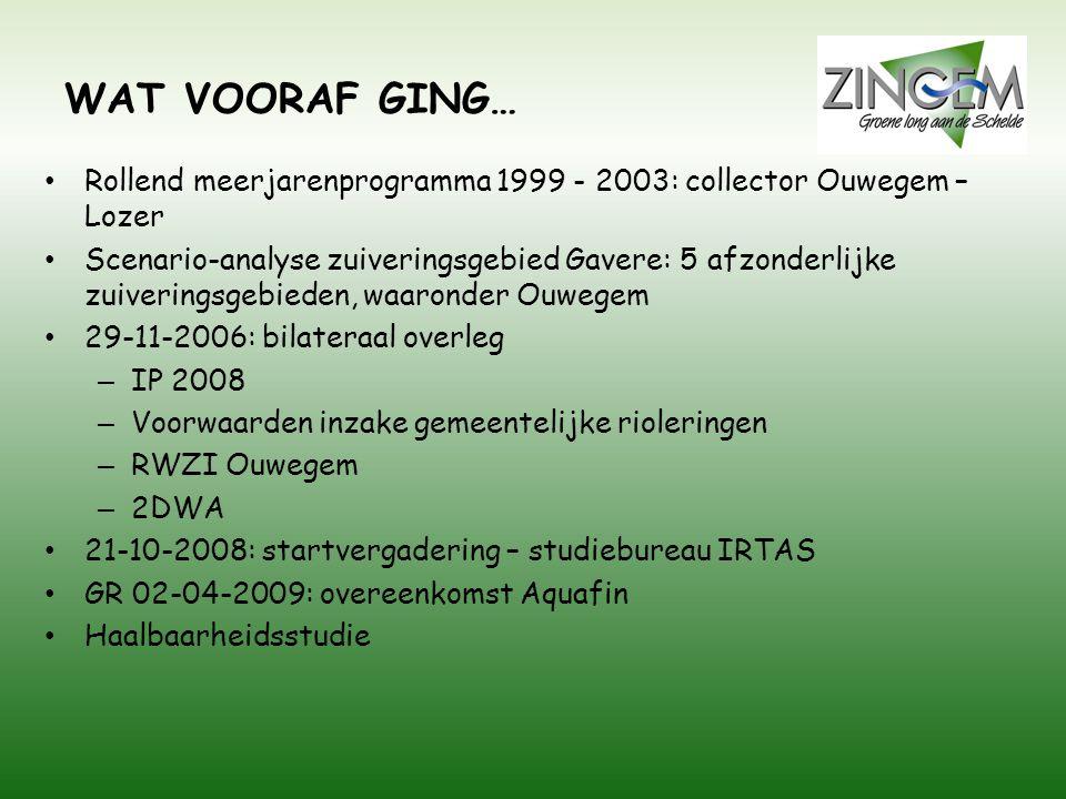 WAT VOORAF GING… • Rollend meerjarenprogramma 1999 - 2003: collector Ouwegem – Lozer • Scenario-analyse zuiveringsgebied Gavere: 5 afzonderlijke zuive