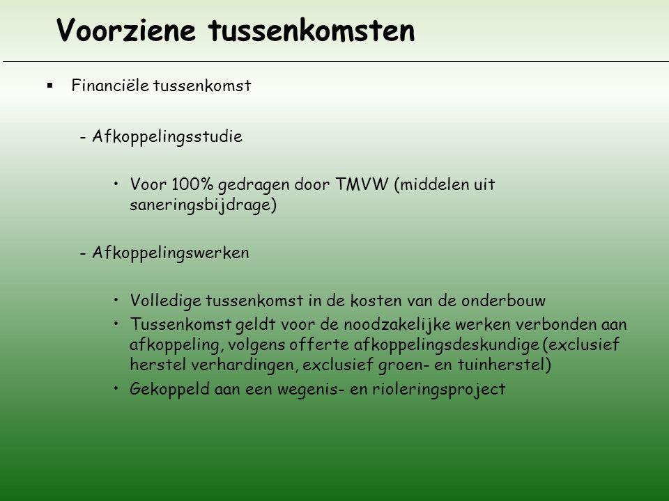 Voorziene tussenkomsten  Financiële tussenkomst - Afkoppelingsstudie •Voor 100% gedragen door TMVW (middelen uit saneringsbijdrage) - Afkoppelingswer