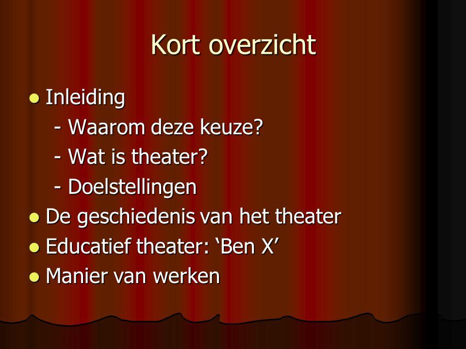 Inleiding  Waarom deze keuze. Wat is theater.