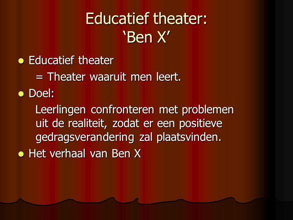 Het boek 'Ben X'  Het verhaal van Ben X: Het verhaal gaat over een autistische jongen, die op school gepest wordt.