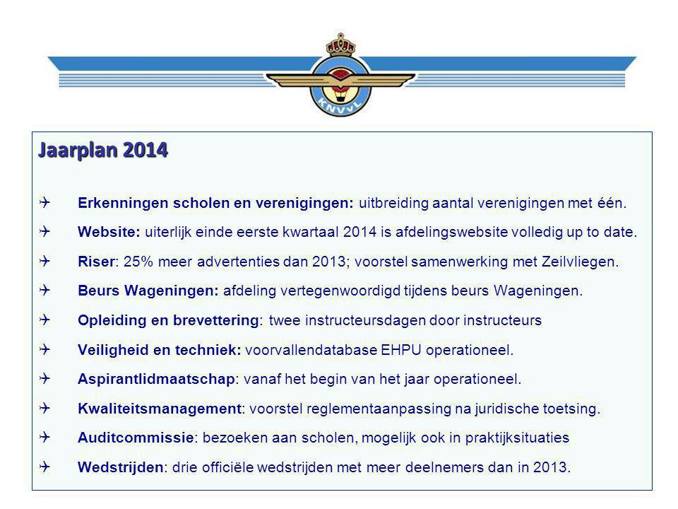 Jaarplan 2014  Erkenningen scholen en verenigingen: uitbreiding aantal verenigingen met één.