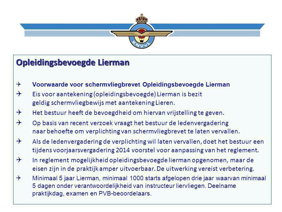 Opleidingsbevoegde Lierman  Voorwaarde voor schermvliegbrevet Opleidingsbevoegde Lierman  Eis voor aantekening (opleidingsbevoegde) Lierman is bezit geldig schermvliegbewijs met aantekening Lieren.