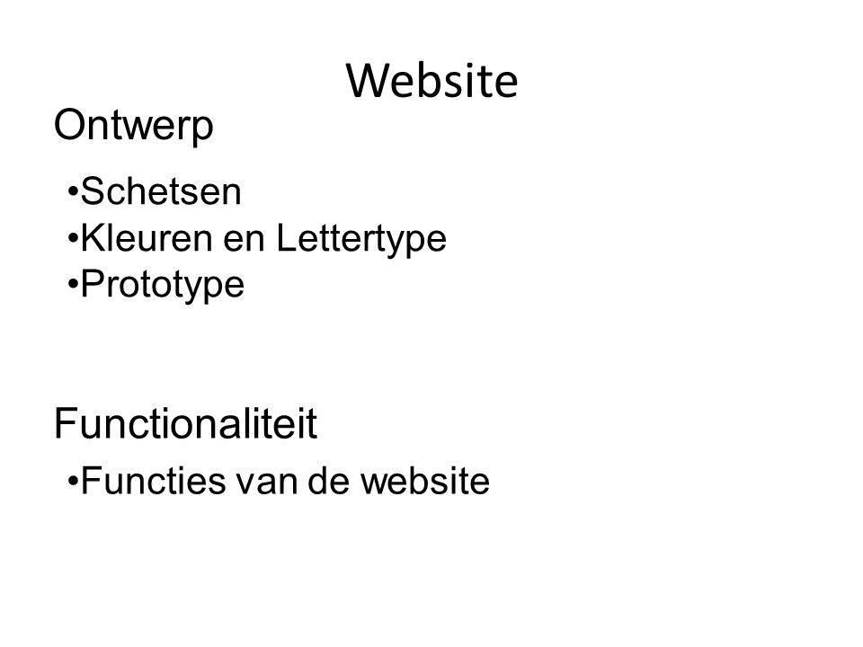 Website Ontwerp Functionaliteit •Schetsen •Kleuren en Lettertype •Prototype •Functies van de website