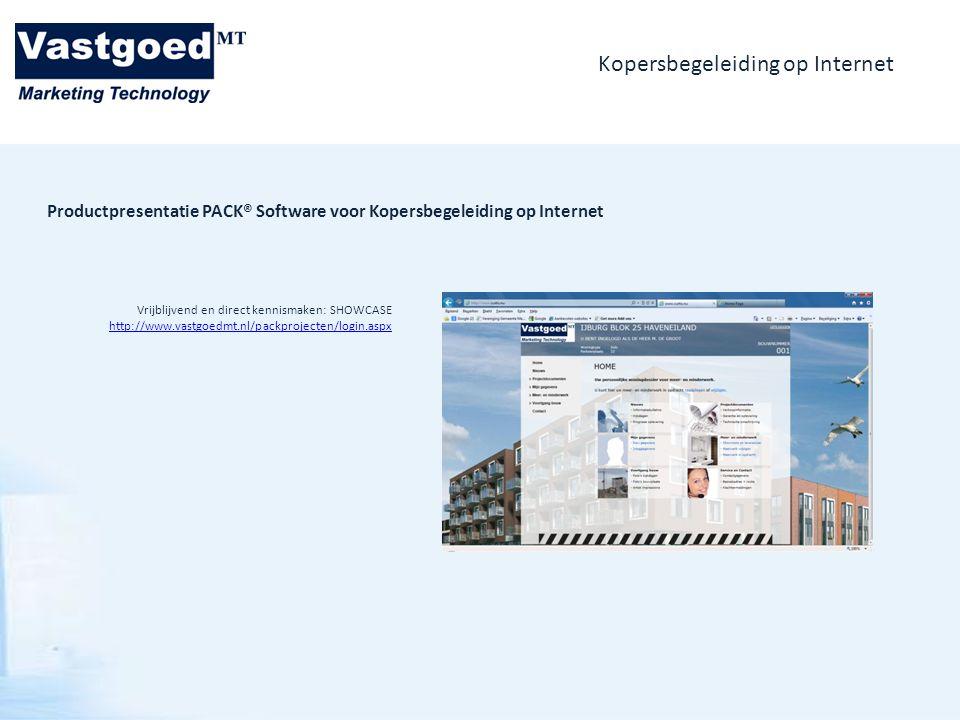 Kopersbegeleiding op Internet Vrijblijvend en direct kennismaken: SHOWCASE http://www.vastgoedmt.nl/packprojecten/login.aspx Productpresentatie PACK®