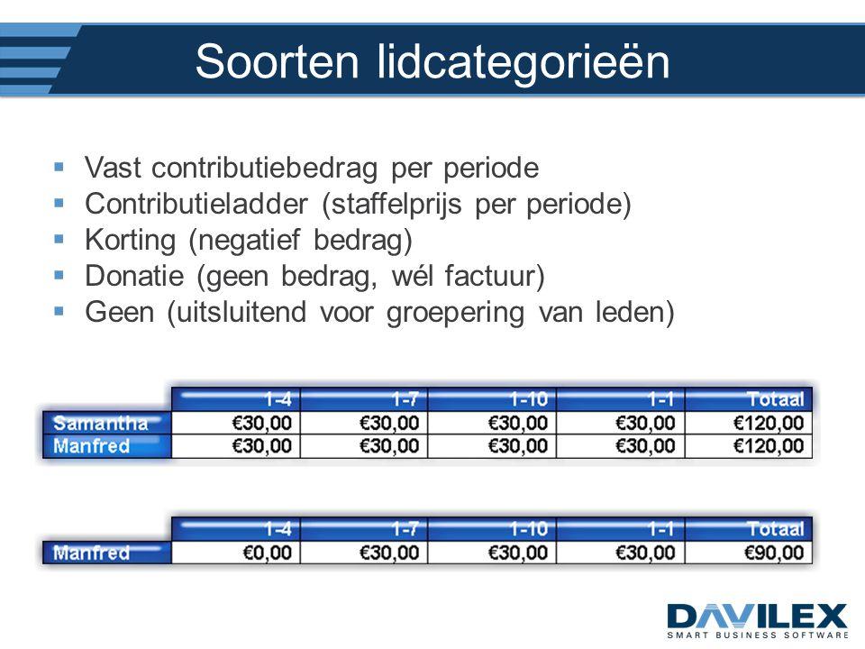Soorten lidcategorieën  Vast contributiebedrag per periode  Contributieladder (staffelprijs per periode)  Korting (negatief bedrag)  Donatie (geen
