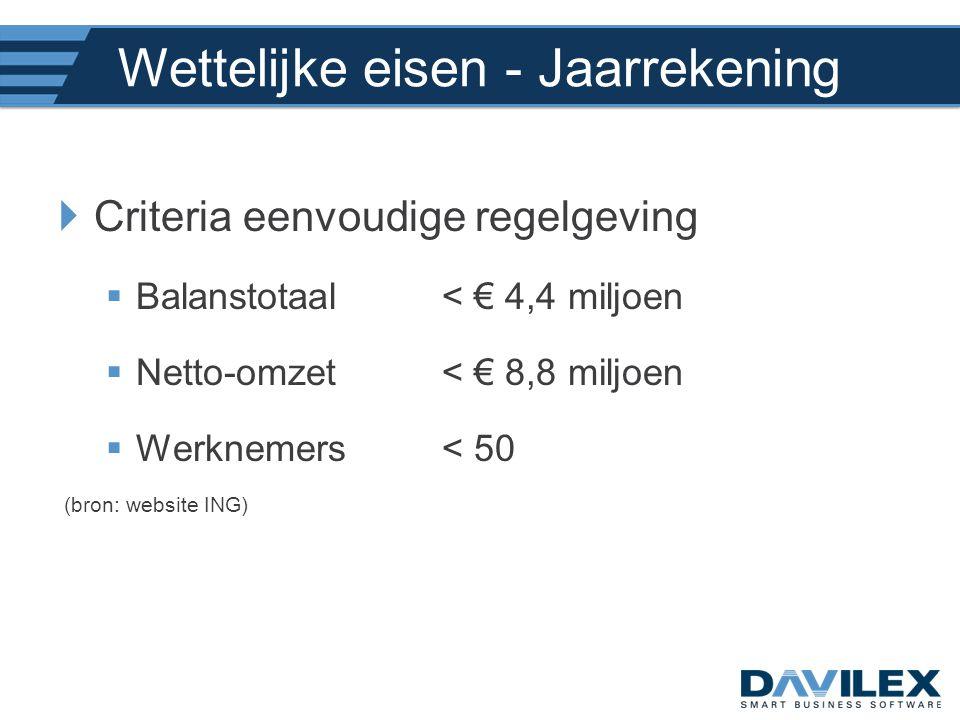 Wettelijke eisen - Jaarrekening  Criteria eenvoudige regelgeving  Balanstotaal < € 4,4 miljoen  Netto-omzet < € 8,8 miljoen  Werknemers< 50 (bron: