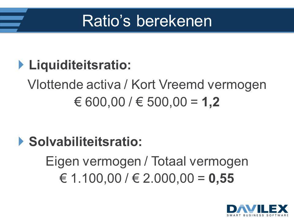 Ratio's berekenen  Liquiditeitsratio: Vlottende activa / Kort Vreemd vermogen € 600,00 / € 500,00 = 1,2  Solvabiliteitsratio: Eigen vermogen / Totaa