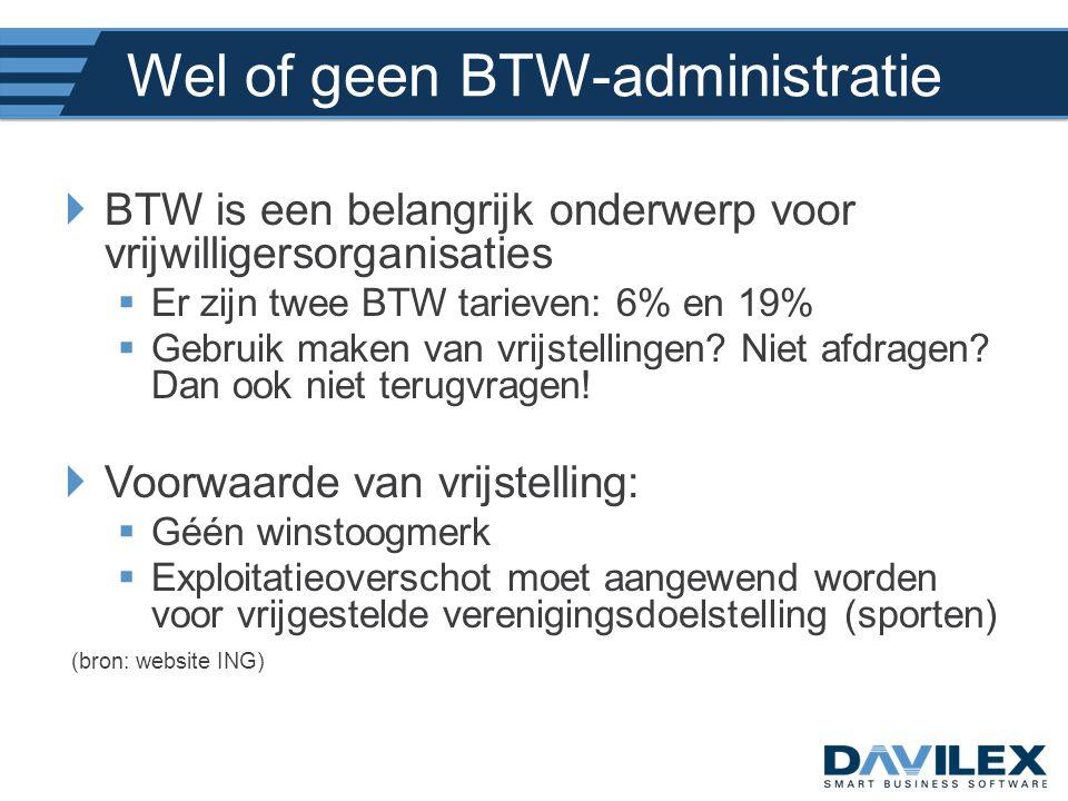 Wel of geen BTW-administratie  BTW is een belangrijk onderwerp voor vrijwilligersorganisaties  Er zijn twee BTW tarieven: 6% en 19%  Gebruik maken