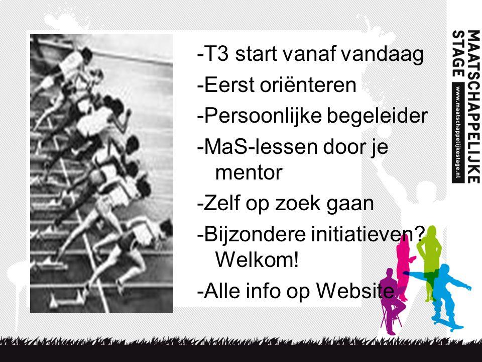 -T3 start vanaf vandaag -Eerst oriënteren -Persoonlijke begeleider -MaS-lessen door je mentor -Zelf op zoek gaan -Bijzondere initiatieven? Welkom! -Al