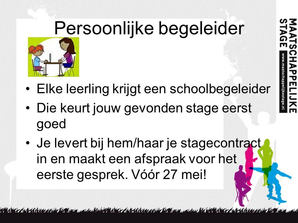 Persoonlijke begeleider •Elke leerling krijgt een schoolbegeleider •Die keurt jouw gevonden stage eerst goed •Je levert bij hem/haar je stagecontract
