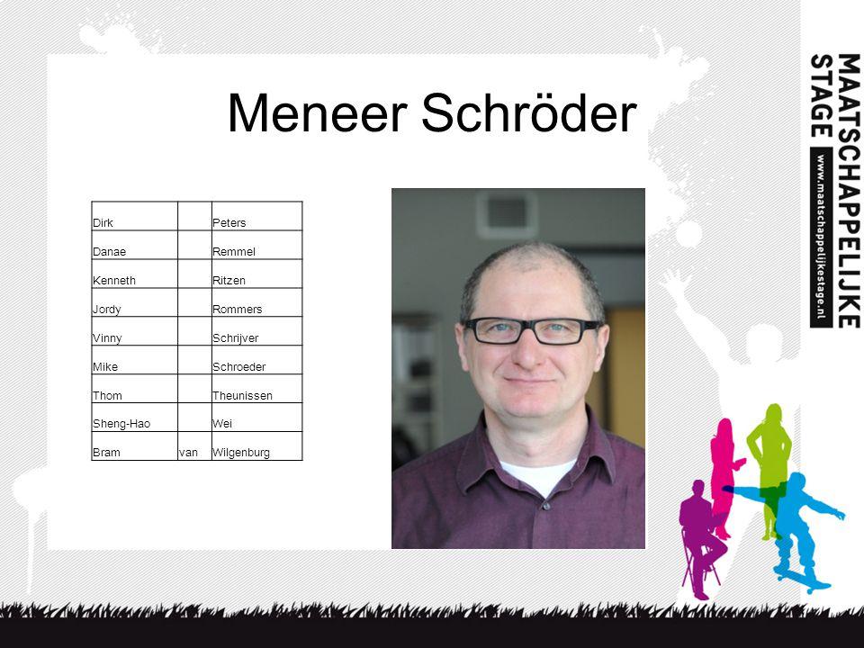 Meneer Schröder Dirk Peters Danae Remmel Kenneth Ritzen Jordy Rommers Vinny Schrijver Mike Schroeder Thom Theunissen Sheng-Hao Wei BramvanWilgenburg