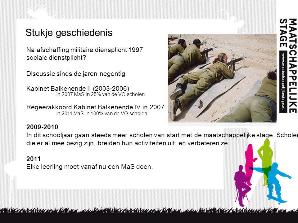 Stukje geschiedenis Na afschaffing militaire diensplicht 1997 sociale dienstplicht? Discussie sinds de jaren negentig Kabinet Balkenende II (2003-2006