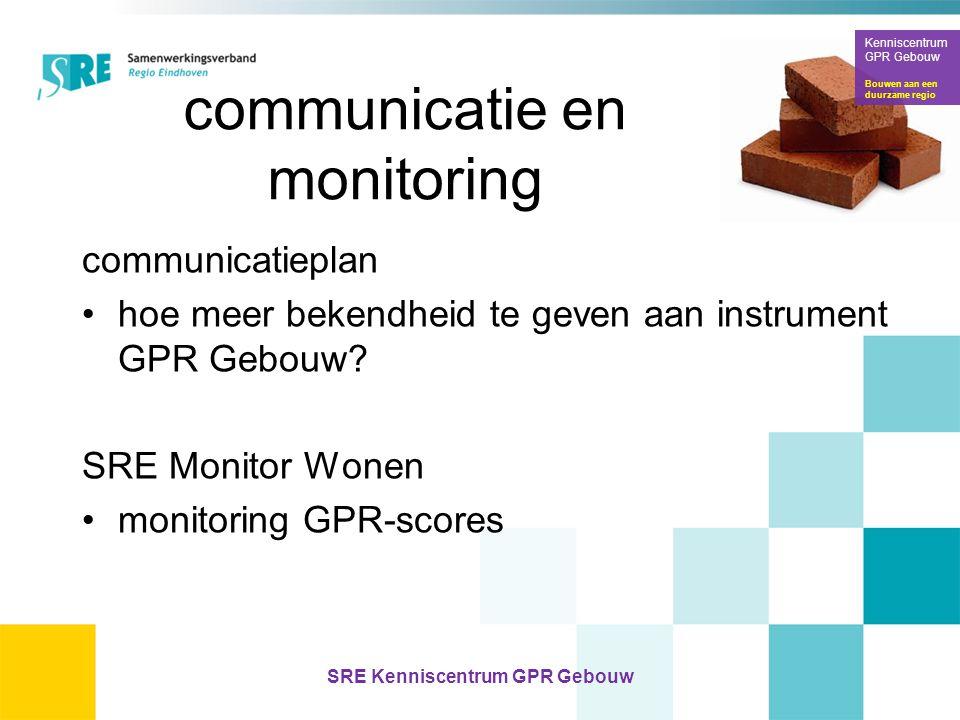 communicatie en monitoring communicatieplan •hoe meer bekendheid te geven aan instrument GPR Gebouw? SRE Monitor Wonen •monitoring GPR-scores Kennisce