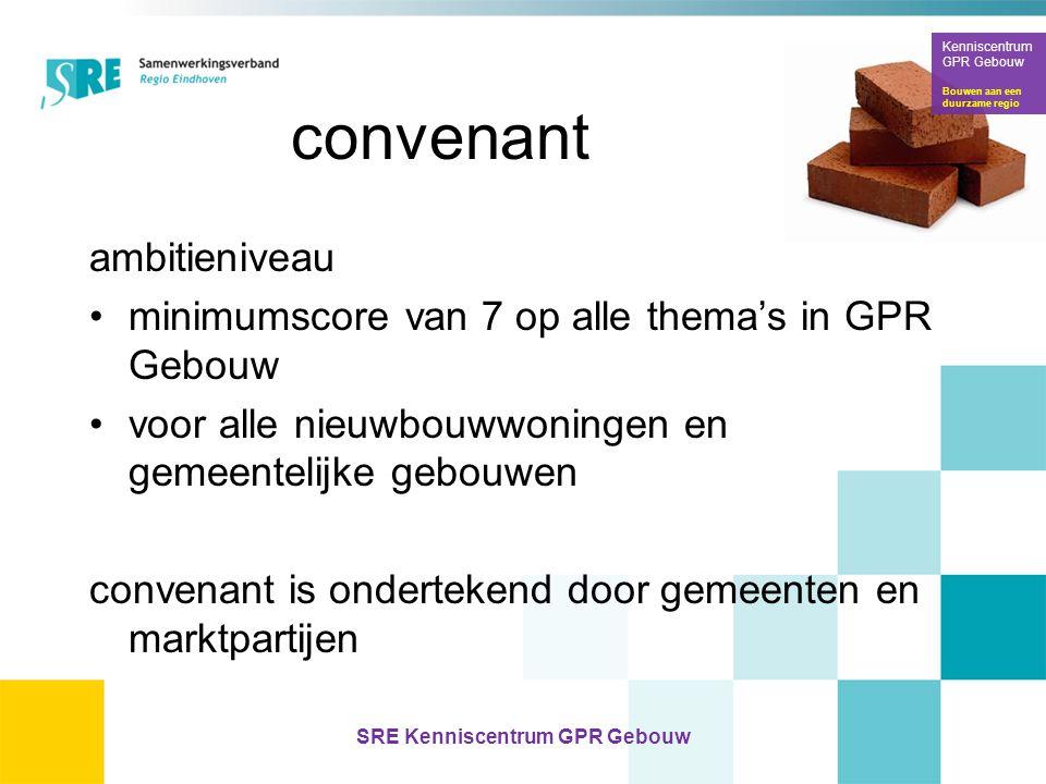 Kenniscentrum GPR Gebouw Bouwen aan een duurzame regio SRE Kenniscentrum GPR Gebouw convenant ambitieniveau •minimumscore van 7 op alle thema's in GPR