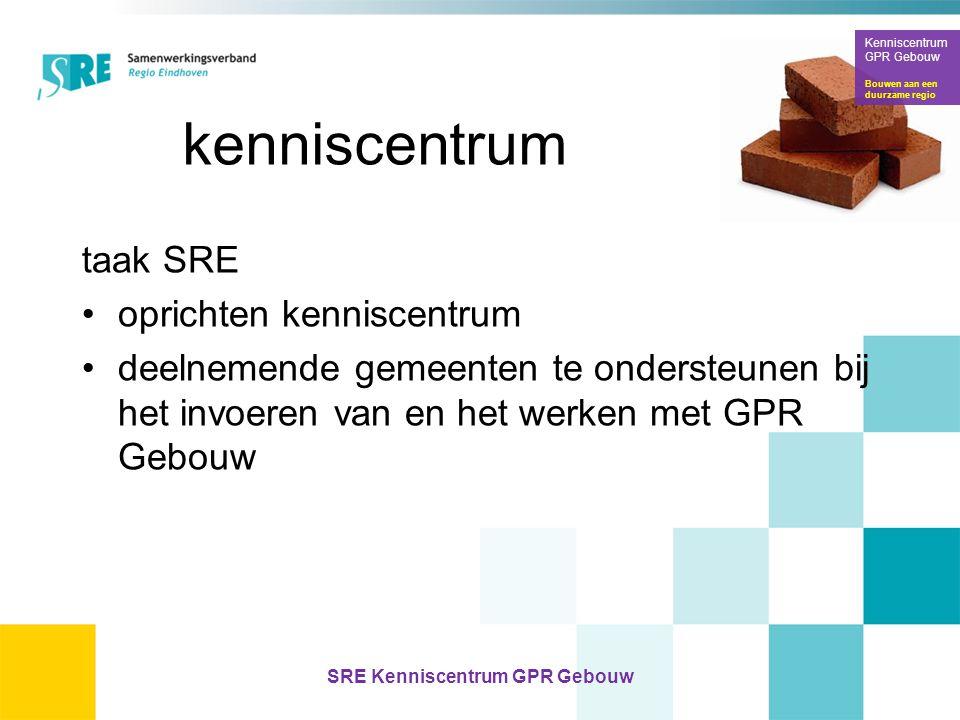 kenniscentrum taak SRE •oprichten kenniscentrum •deelnemende gemeenten te ondersteunen bij het invoeren van en het werken met GPR Gebouw Kenniscentrum