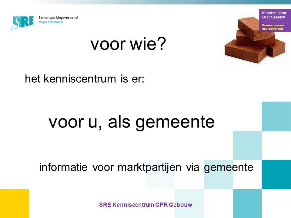 voor wie? het kenniscentrum is er: voor u, als gemeente informatie voor marktpartijen via gemeente Kenniscentrum GPR Gebouw Bouwen aan een duurzame re
