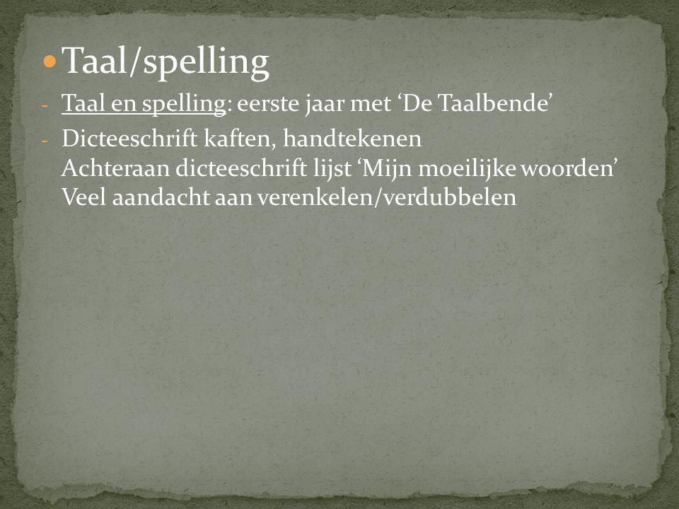  Taal/spelling - Taal en spelling: eerste jaar met 'De Taalbende' - Dicteeschrift kaften, handtekenen Achteraan dicteeschrift lijst 'Mijn moeilijke w
