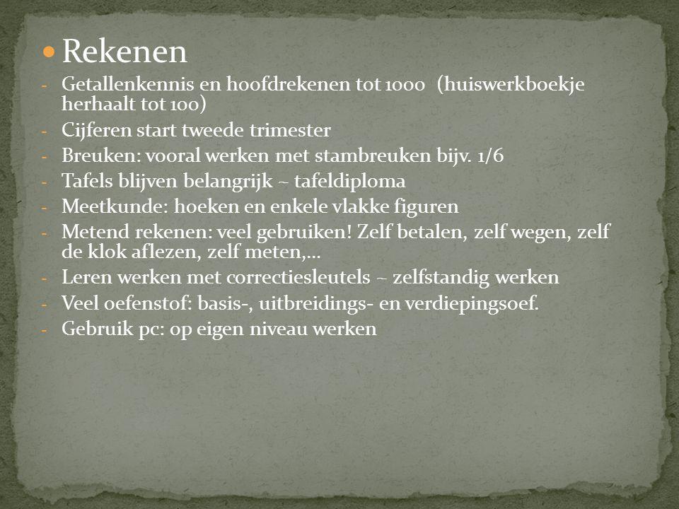  Rekenen - Getallenkennis en hoofdrekenen tot 1000 (huiswerkboekje herhaalt tot 100) - Cijferen start tweede trimester - Breuken: vooral werken met s