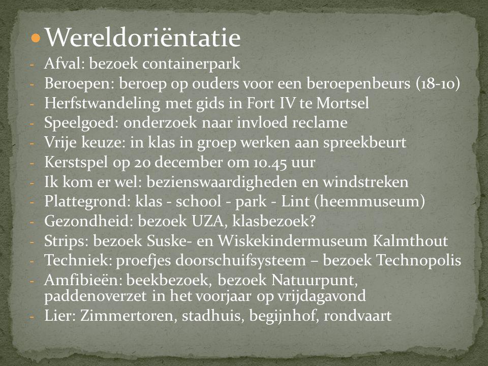  Wereldoriëntatie - Afval: bezoek containerpark - Beroepen: beroep op ouders voor een beroepenbeurs (18-10) - Herfstwandeling met gids in Fort IV te