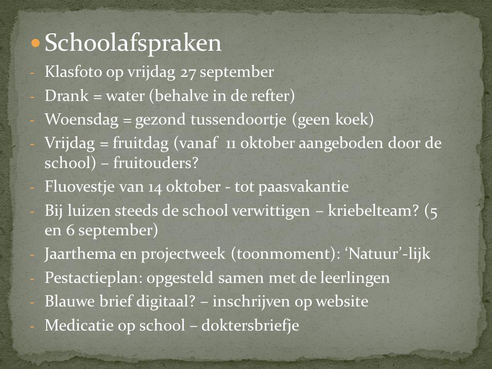  Schoolafspraken - Klasfoto op vrijdag 27 september - Drank = water (behalve in de refter) - Woensdag = gezond tussendoortje (geen koek) - Vrijdag =